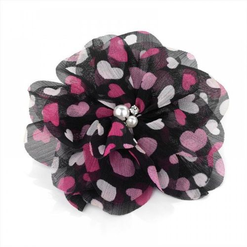 Heart Print Flower Bead Crystal Hair Elastic and Clip